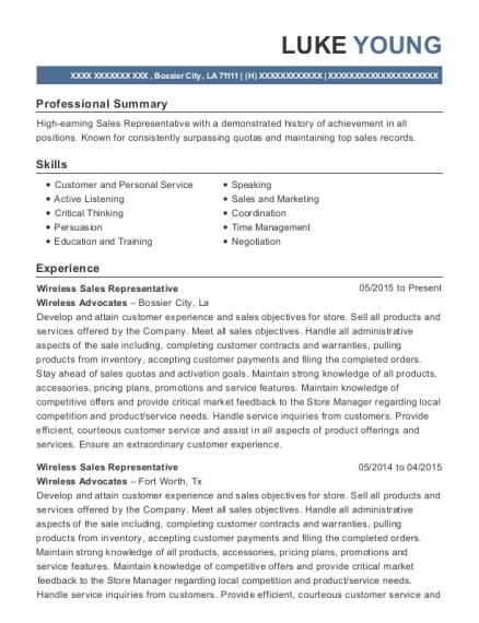 view resume wireless sales representative - Sample Resume Wireless Sales Representative