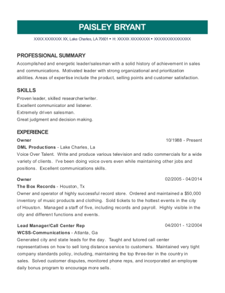 Brand Energy & Infrastructure Services Lead Manager Resume Sample ...