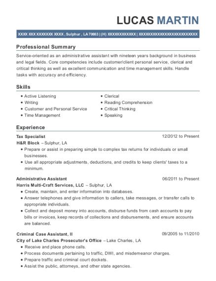 H&rblock Tax Specialist Resume Sample - Newark New Jersey | ResumeHelp