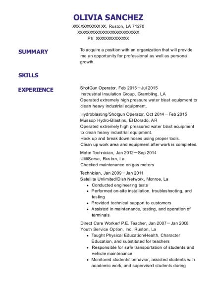 Km Industrial Service Hydroblasting Resume Sample - Gary Indiana ...