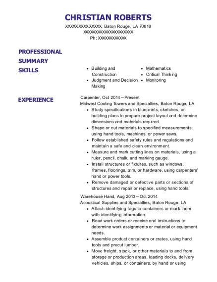 Best Carpenter Resumes in Baton Rouge Louisiana | ResumeHelp