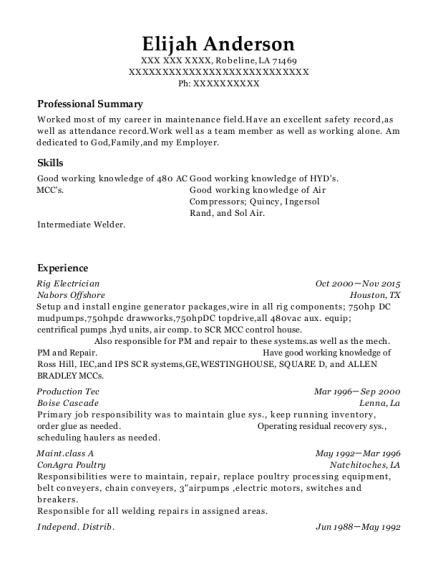 People Also Search For. Customize Resume · View Resume. Rig Electrician