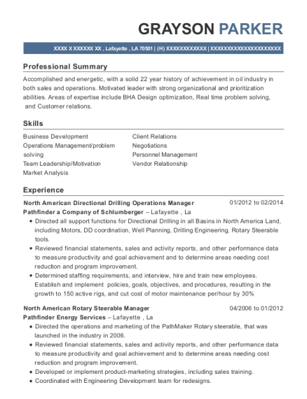 Best North American Directional Drilling Operations Manager Resumes