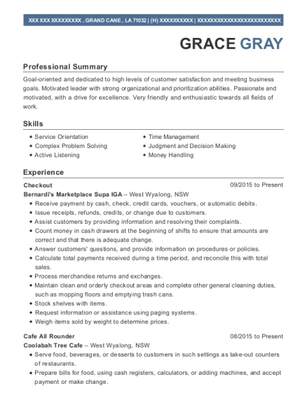 Double Exposure Cafe Cafe All Rounder Resume Sample - Jenners ...