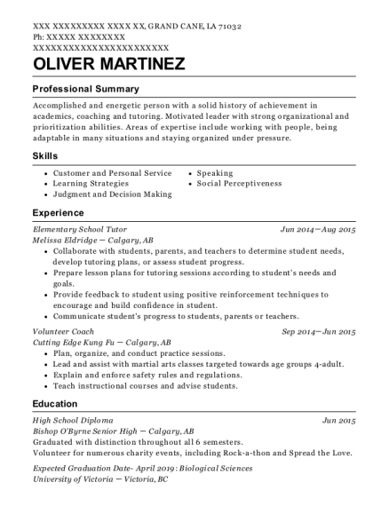Melissa Eldridge Elementary School Tutor Resume Sample - Grand Cane ...