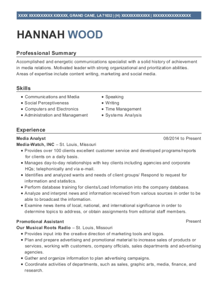 View Resume. Media Analyst