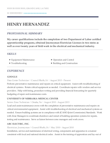 henry hernandez - Data Center Technician Resume