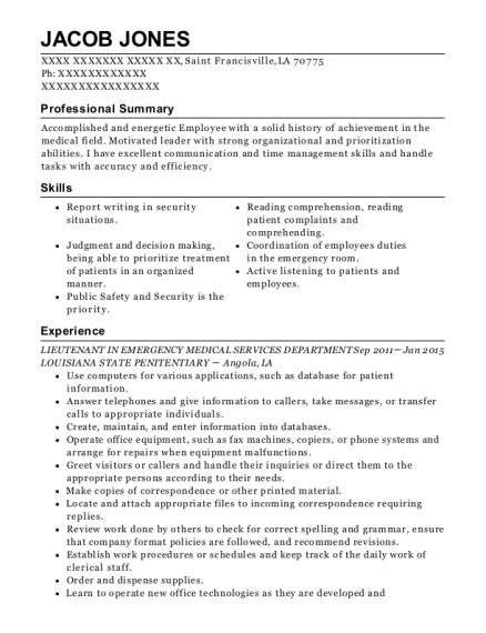 Best Emergency Medical Technician Basic Resumes Resumehelp