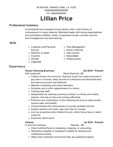 Self Employed House Cleaning Business Resume Sample Grand Cane
