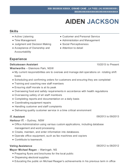 coles delicatessen assistant resume sample wembley washington