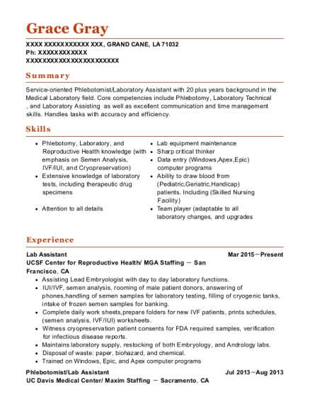 view resume - Lab Assistant Resume