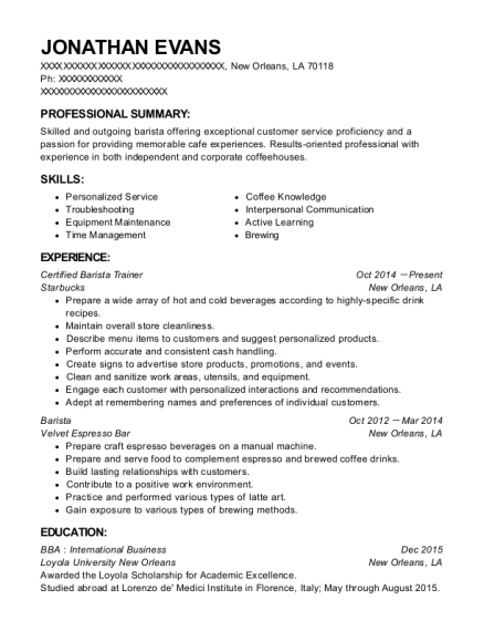 Starbucks Certified Barista Trainer Resume Sample New Orleans