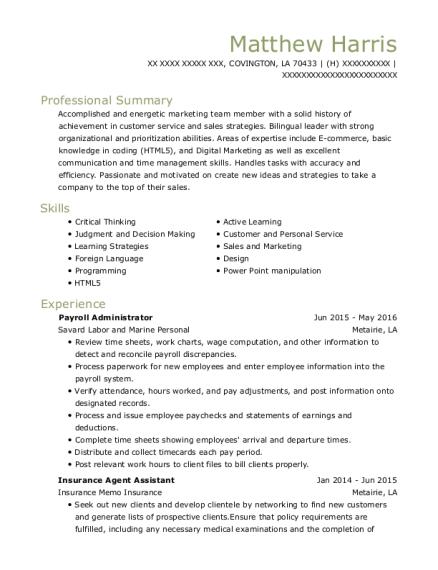 Best Insurance Agent Assistant Resumes   ResumeHelp