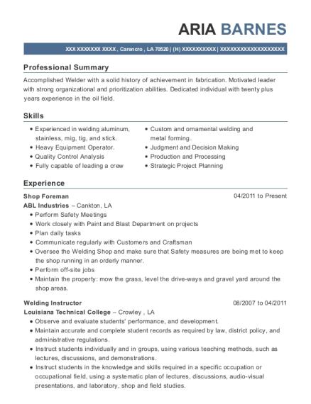 Best Welding Instructor Resumes   ResumeHelp
