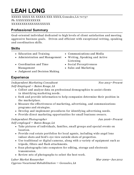 leah long - Marketing Consultant Resume