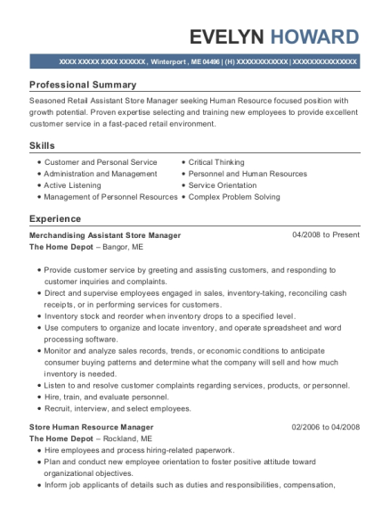 the home depot merchandising assistant store manager resume sample