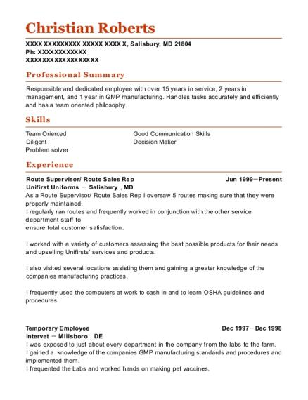 aramark uniform services route sales rep resume sample