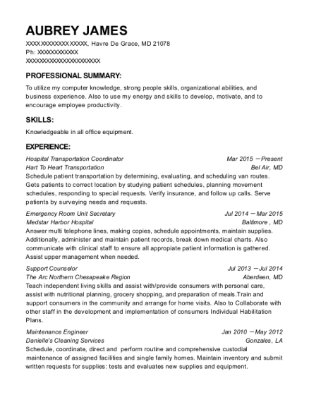 Aubrey James  Unit Secretary Resume