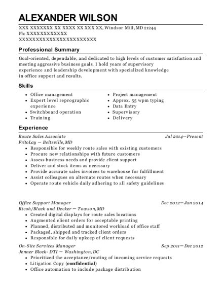 View Resume. Route Sales Associate
