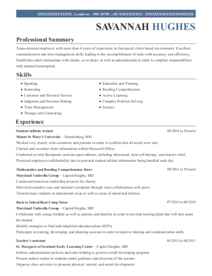 View Resume. Student Athletic Trainer