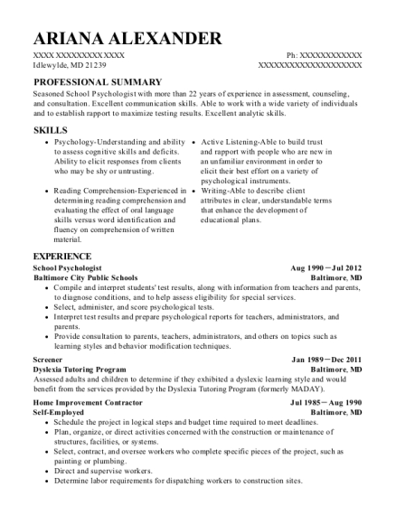 school psychologist customize resume view resume - School Psychologist Resume