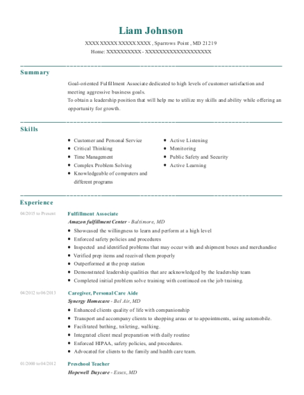 amazon fulfillment center fulfillment associate resume sample