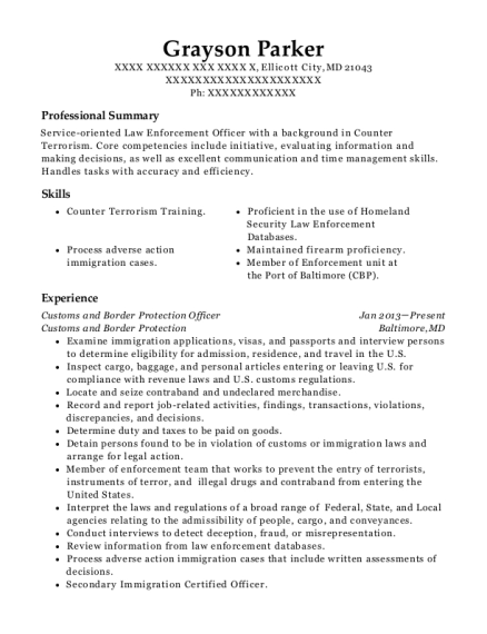 Resume For Customs And Border Protection Officer | Department Of Homeland Security Cbp Customs And Border Protection