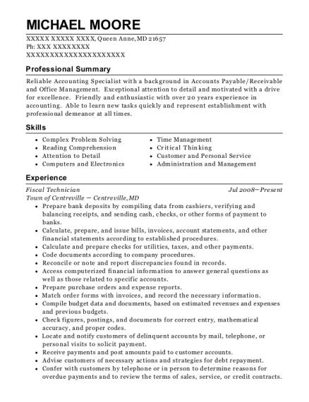 Best Fiscal Technician Resumes   ResumeHelp