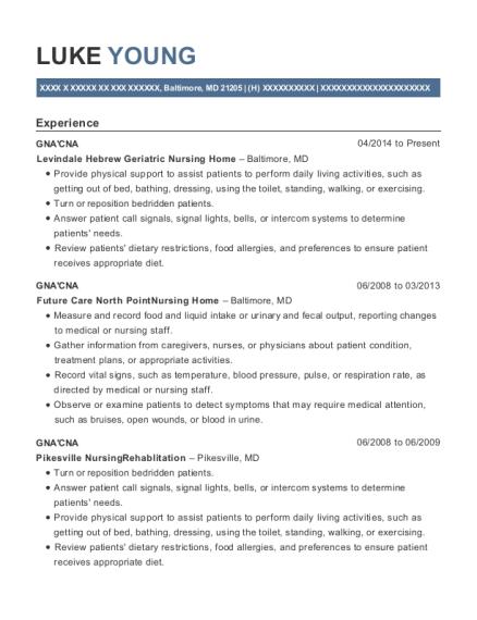 levindale hebrew geriatric nursing home gnacna resume