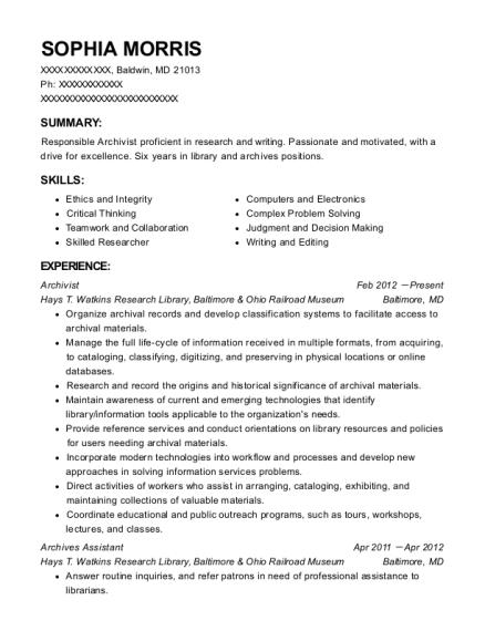 archivist resume