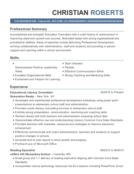 generation ready educational literacy consultant resume sample