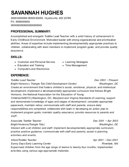 View Resume. Toddler Lead Teacher