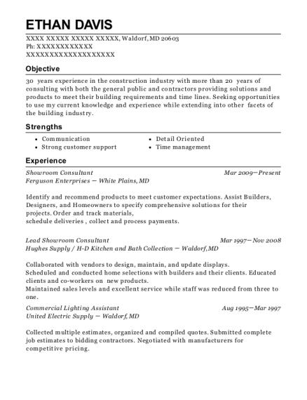 ferguson enterprises showroom consultant resume sample waldorf