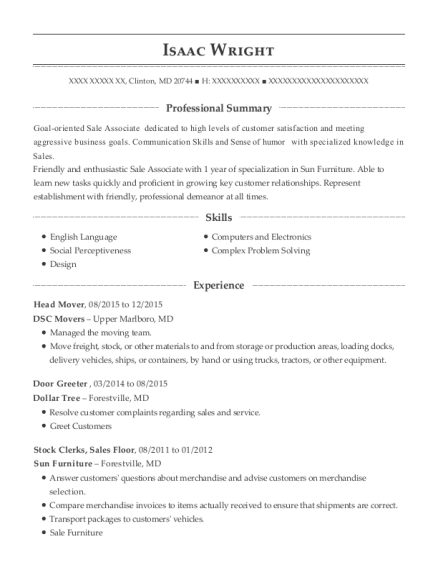 isaac wright - Sample Greeter Resume
