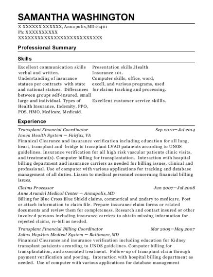 Transplant Financial Coordinator , Lead. Customize Resume · View Resume
