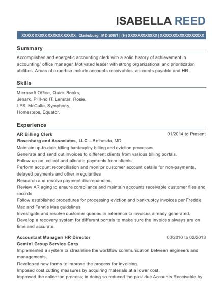 Best Ar Billing Clerk Resumes | ResumeHelp