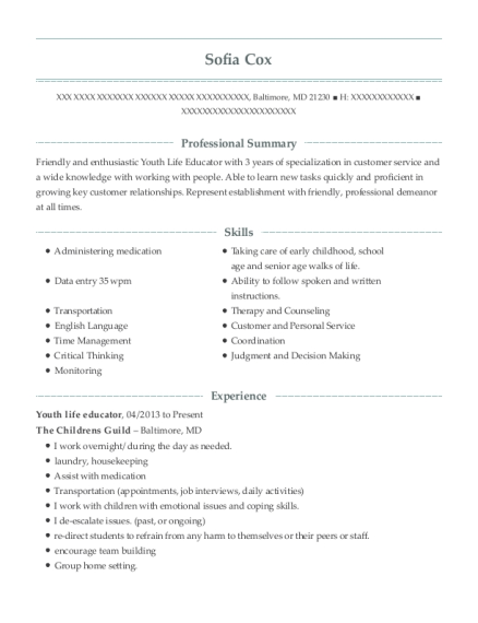 The Childrens Guild Youth Life Educator Resume Sample - Baltimore ...