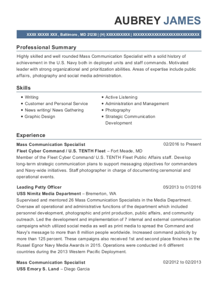 View Resume. Mass Communication Specialist