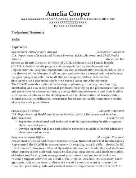 best public health advisor resumes resumehelp