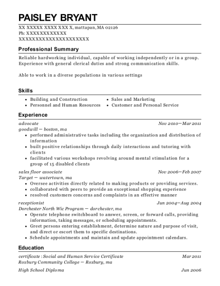 goodwill advocate resume sample mattapan massachusetts resumehelp