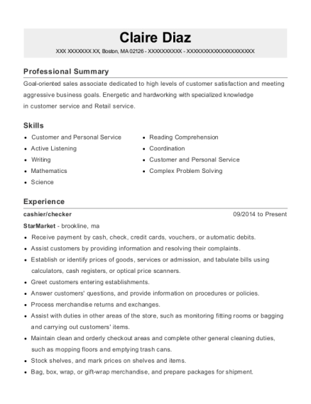 best cashier resumes in boston massachusetts resumehelp