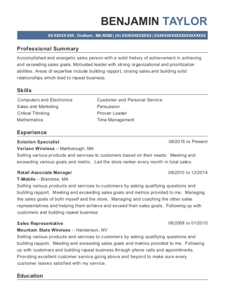 verizon wireless solution specialist resume sample