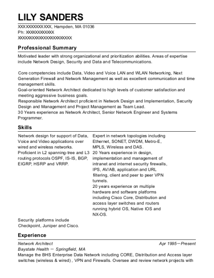 Best Network Architect Resumes