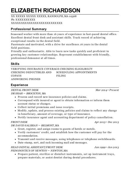 best dental front desk resumes resumehelp