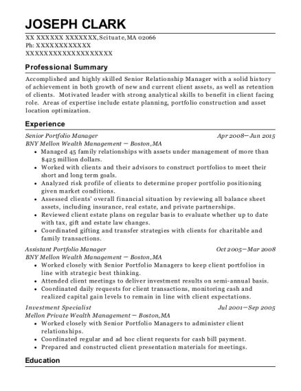 Bny Mellon Wealth Management Senior Portfolio Manager Resume Sample ...