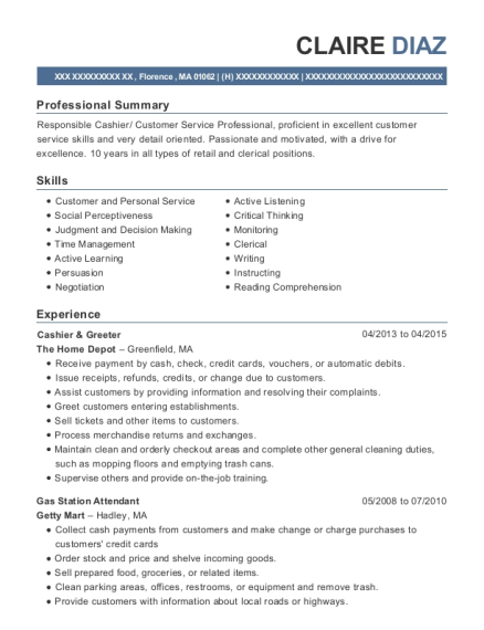 claire diaz - Sample Greeter Resume