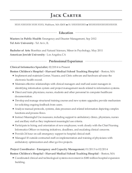 View Resume. Clinical Informatics Specialist