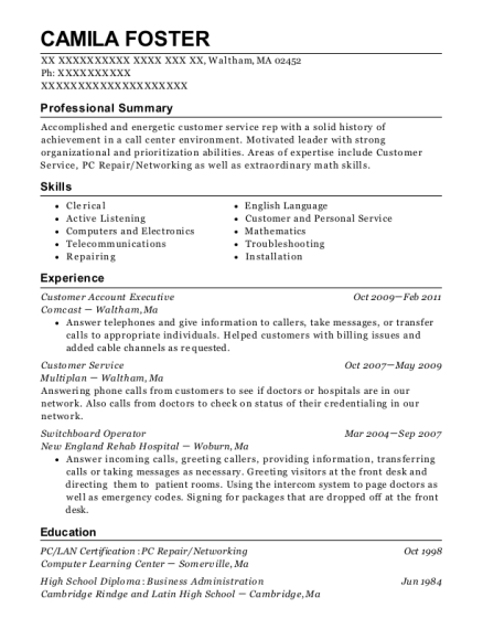 best switchboard operator resumes in massachusetts resumehelp