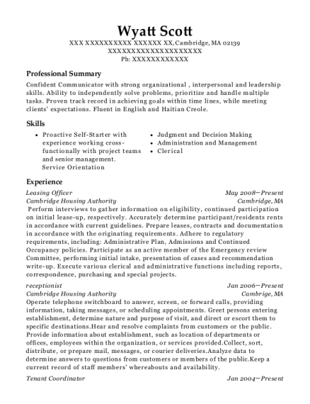 View Resume. Leasing Officer