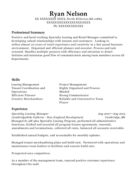 Best Specialty Leasing Manager Resumes Resumehelp